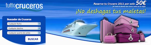 cartel anunciador con barco y maletas