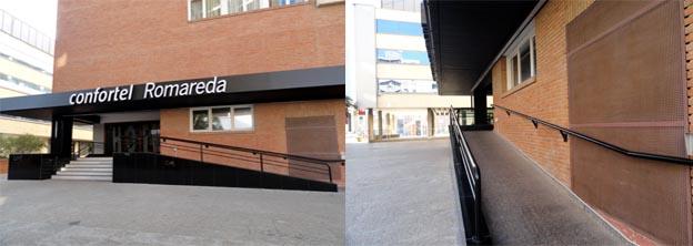 fachada del hotel y detalle de la rampa de acceso