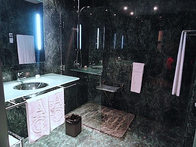 pila de lavabo y zona de ducha con sumidero y asiento plegable