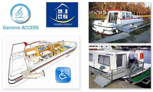 planos y fotografías de un barco con rampas y plataformas para silla de ruedas