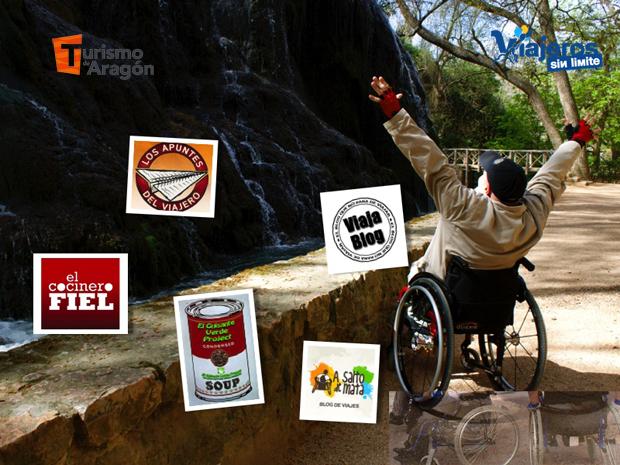 el viajero en silla de ruedas miguel nonay en una cascada de agua junto con los logos de participantes en evento