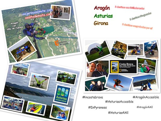 collages de fotos de miguel nonay, viajero con silla de ruedas por Aragón, Asturias y Girona
