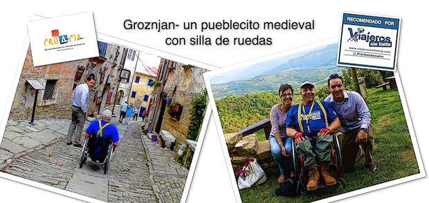 Miguel, viajero con silla de ruedas posando con amigos en Groznjan
