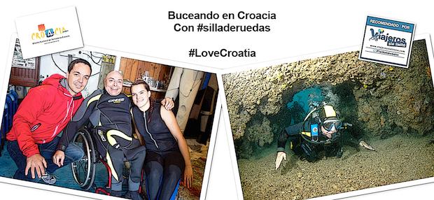 Miguel, viajero con silla de ruedas buceando por cuevas y posando con la empresa Diving Pula