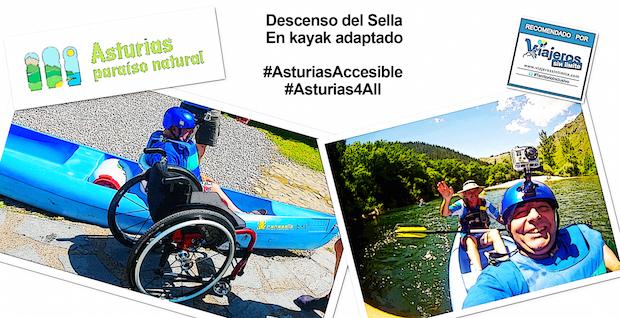 el viajero en silla de ruedas Miguel Nonay sobre el kayak por el Sella