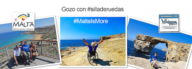 el viajero con silla de ruedas Miguel Nonay con amigos en diferentes zonas de Gozo