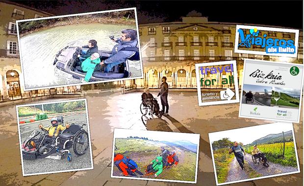 Miguel con su silla de ruedas en Bizkaia