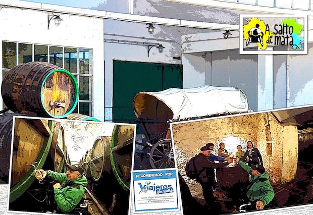 collage con fotos de Miguel en su silla de ruedas recorriendo la fábrica