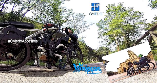 Miguel por Oviedo en su handbike