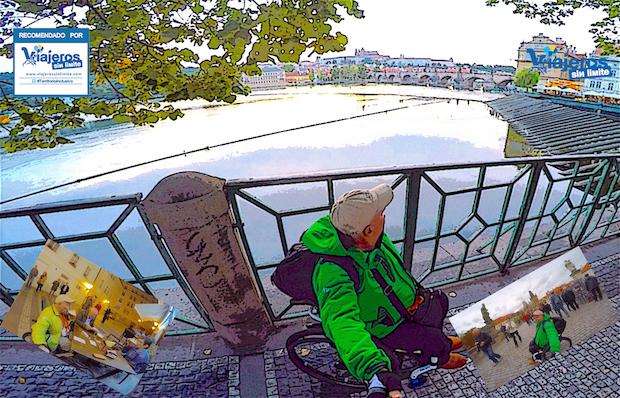 Miguel con su silla de ruedas en varios lugares de Praga