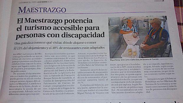 Artículo en el periódico La Comarca