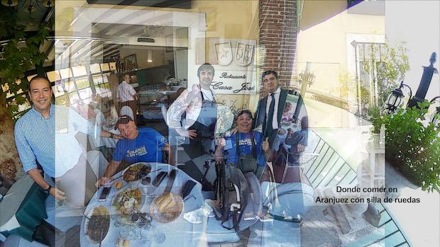 Montaje de dos de los restaurantes posando Miguel con sus dueños