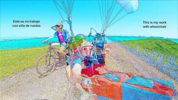 Miguel y Eva en bici, handbike y parapente accesible