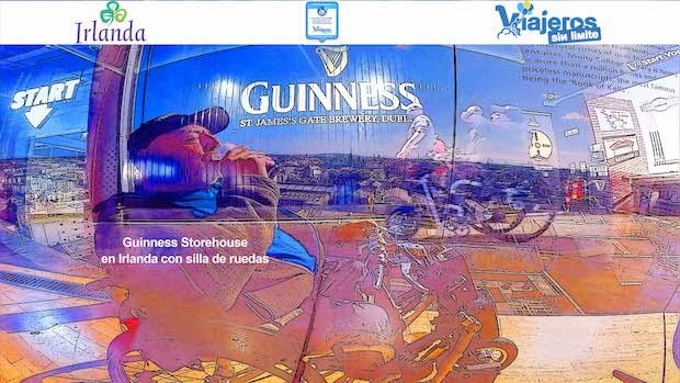 Dos imágenes de Miguel con su silla de ruedas en la Guinness Storehouse