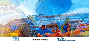 Collage con la fachada del hotel y miguel en una hamaca del hotel
