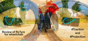 Miguel probando las fundas de ruedas ReTyre